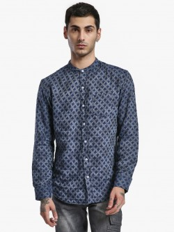 Spring Break Poker Print Grandad Collar Shirt