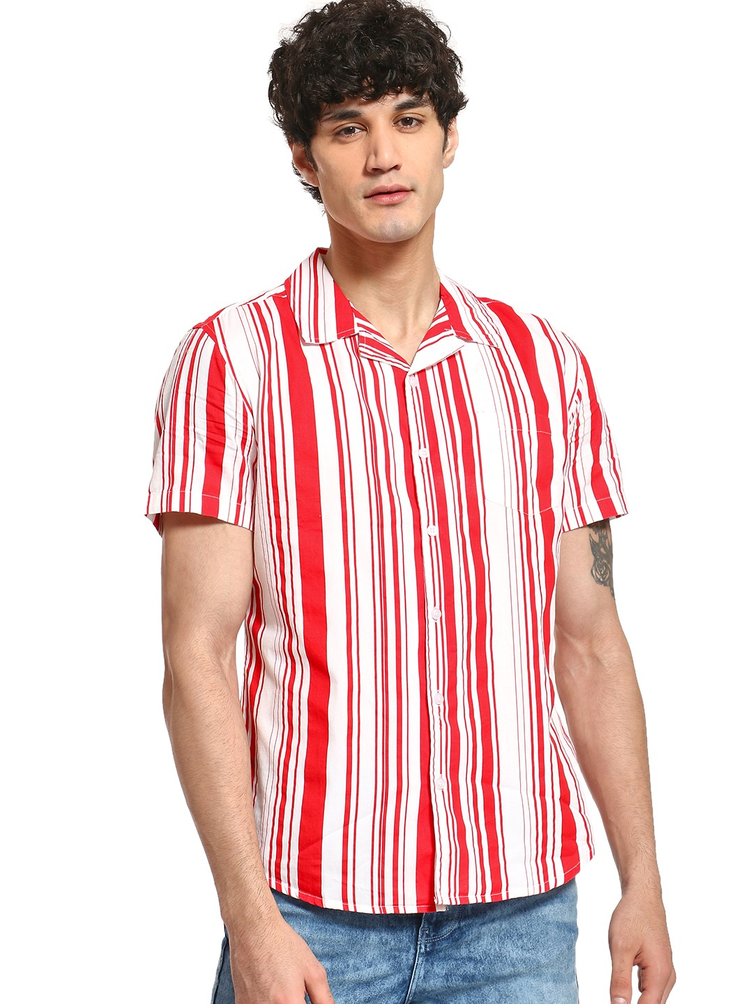 Spring Break Multi Multi-Stripe Cuban Collar Shirt 1