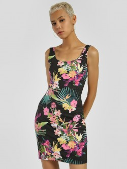 KOOVS Tropical Print Bodycon Dress