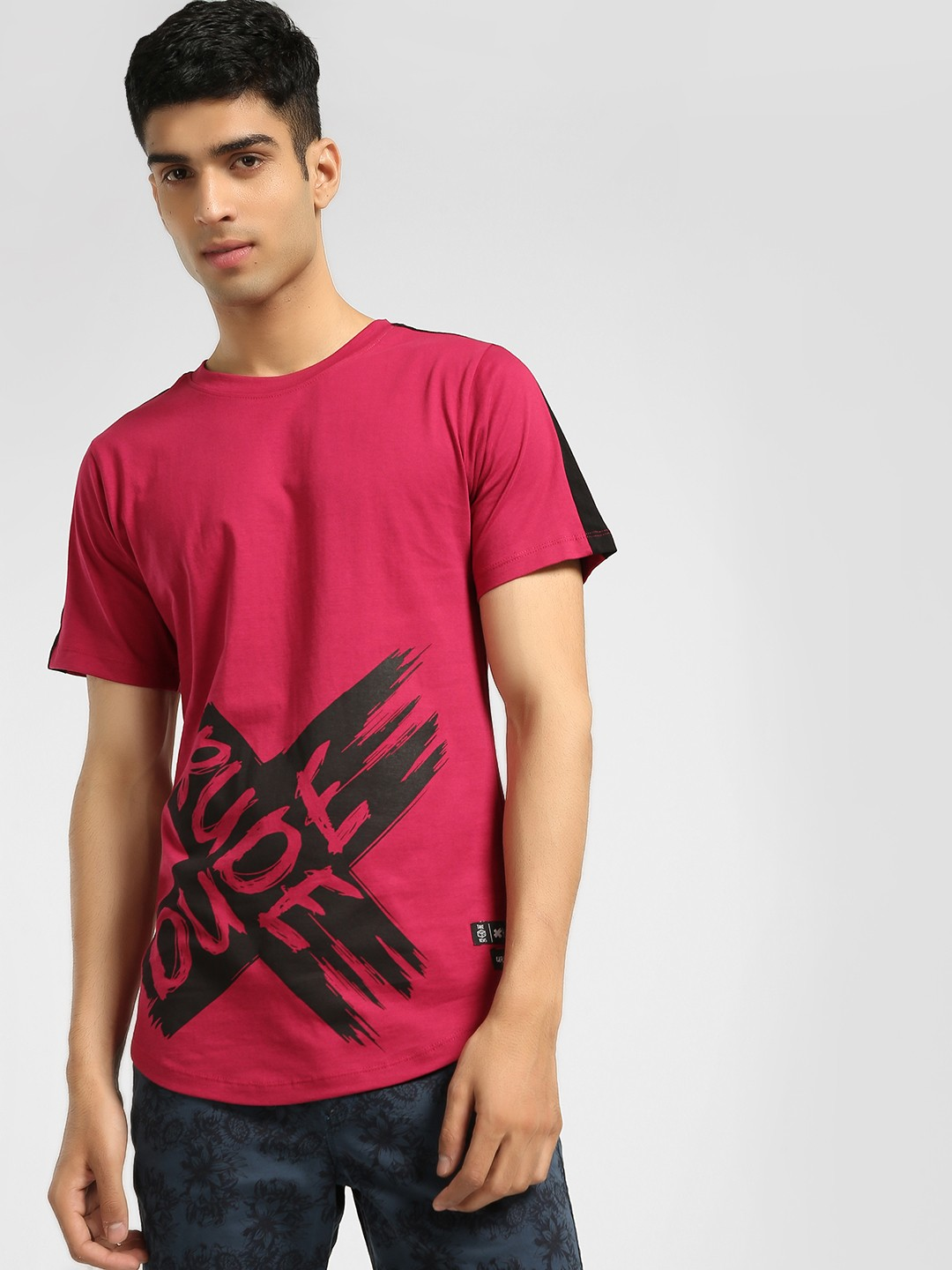 Kultprit Red Rude Cross Print Longline T-Shirt 1