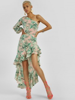 KOOVS Tropical Palm Print Asymmetric Dress