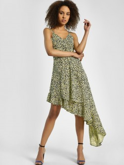 KOOVS Leopard Print Asymmetric Dress