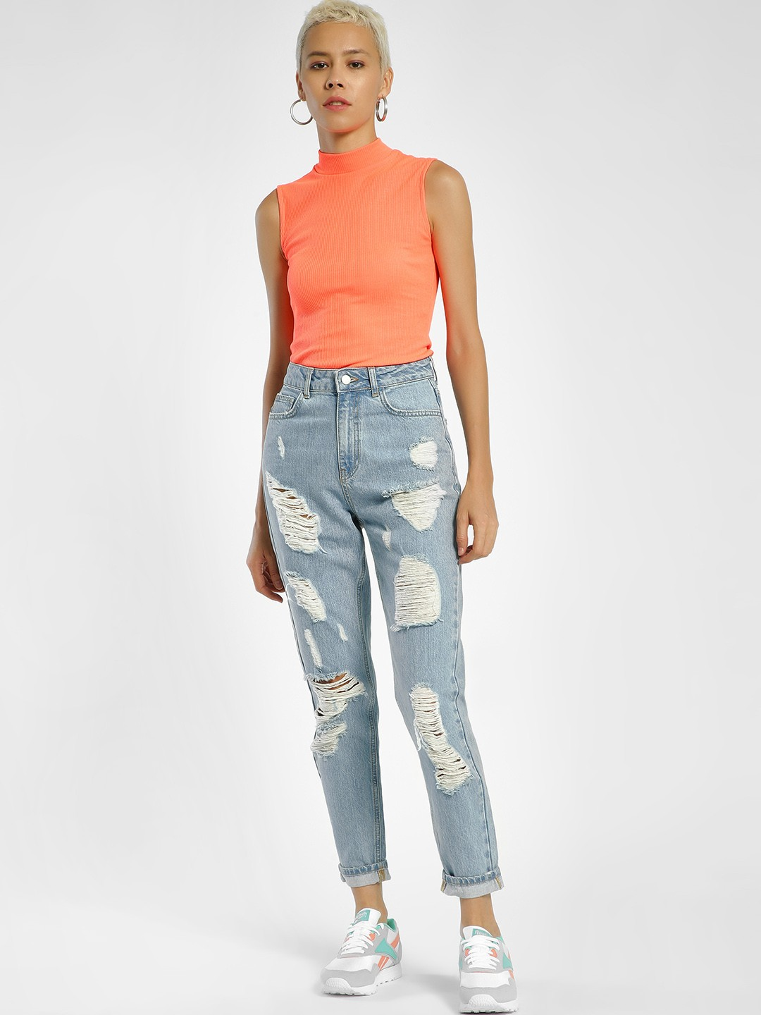 Privy League Blue Light Wash Ripped Straight Jeans 1