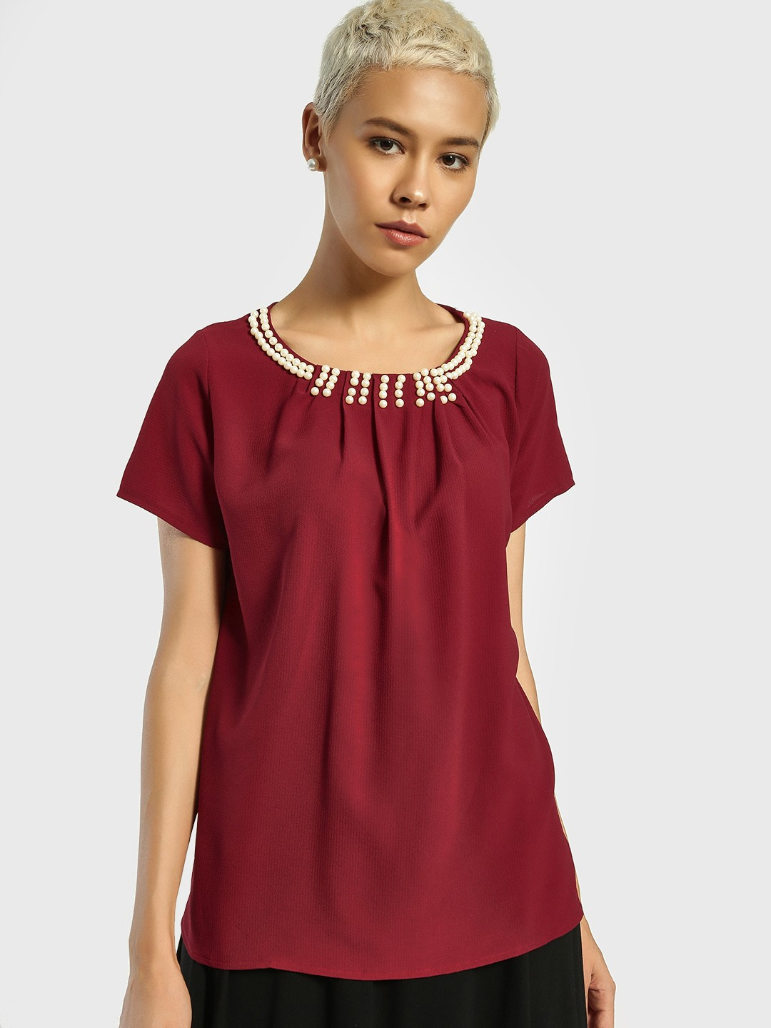 Privy League Maroon Pearl Embellished Neck Blouse 1