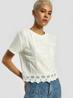 Privy League Crochet Lace Detail Blouse