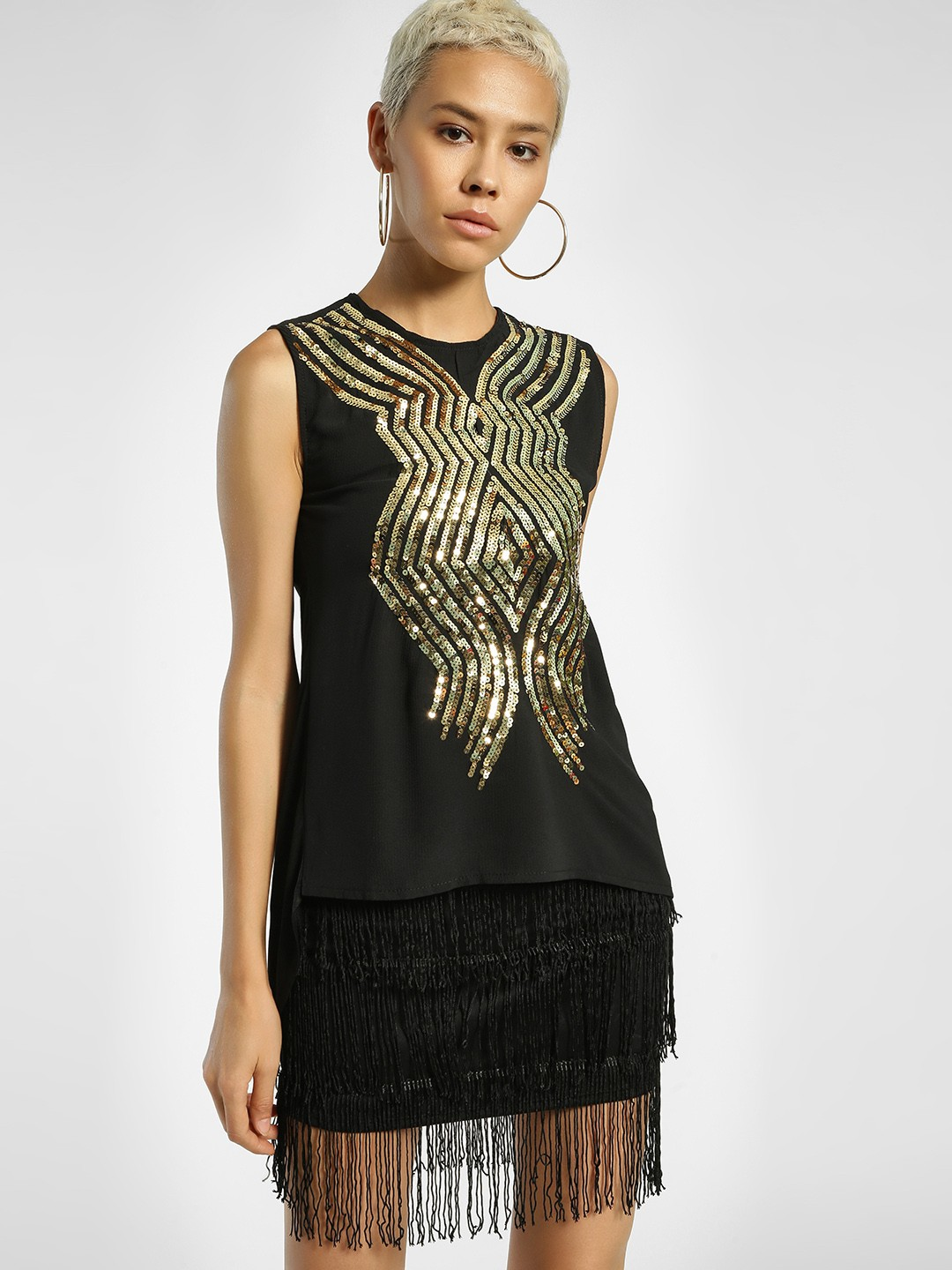 Privy League Black Sequined Sleeveless Blouse 1