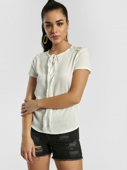 Privy League Front Tie-Knot Lace Detail Blouse