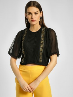 Privy League Embellished Lace Mesh Crop Top