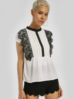 Privy League Contrast Lace Panel Top