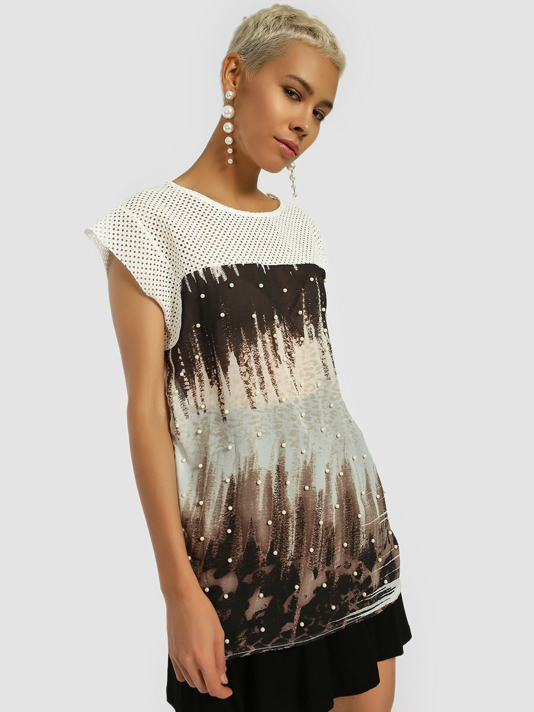 Privy League White Pearl Embellished Printed Longline Blouse 1