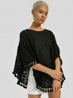 Privy League Tassel Detail Cape Blouse