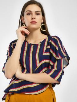 Miaminx Striped Multi Layer Blouse