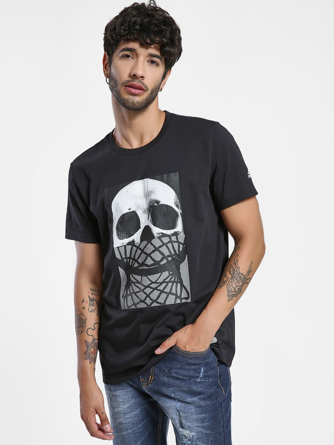 Adidas Black Skull And Net T-Shirt 1