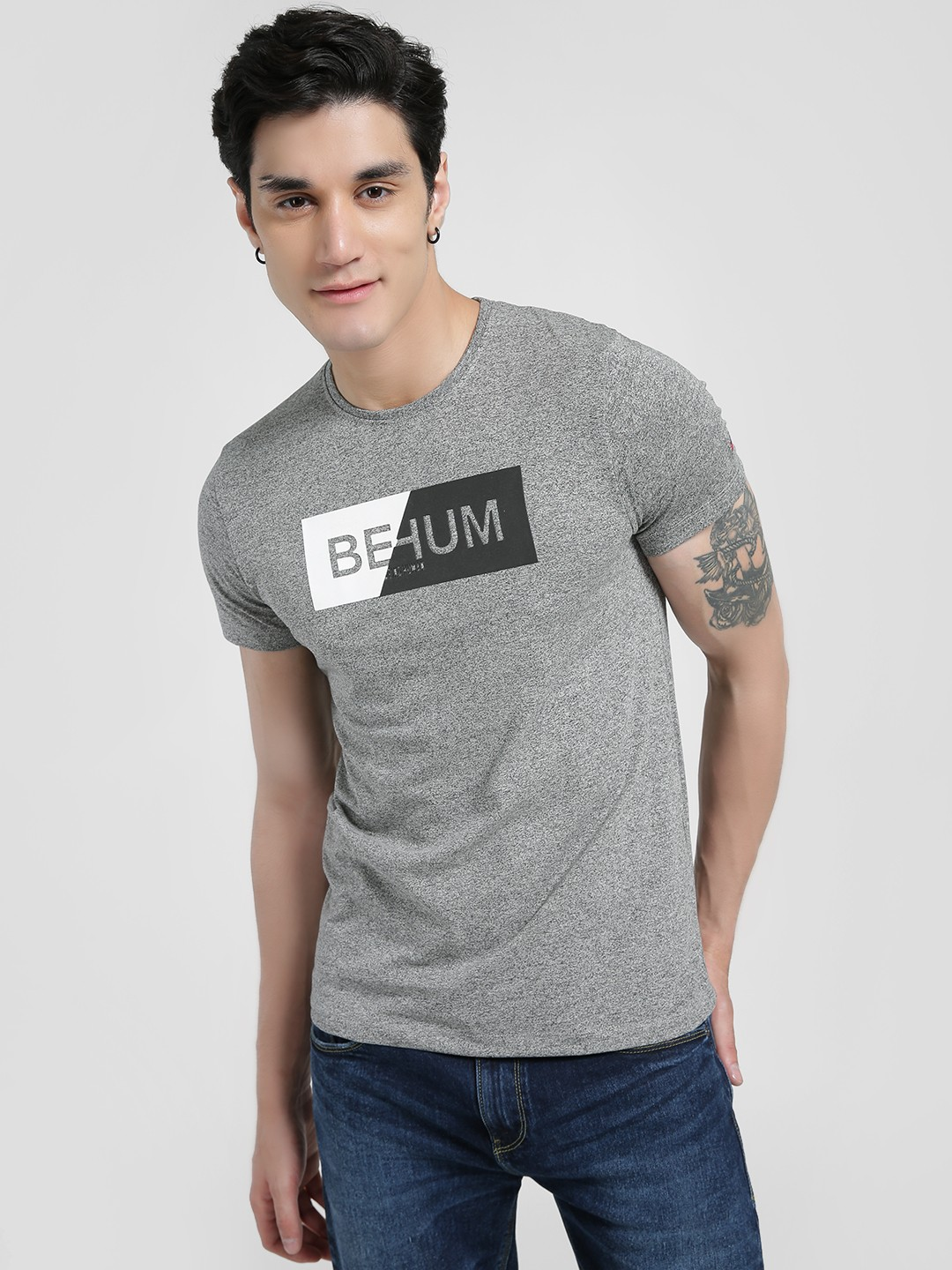 Being Human Grey Melange Placement Print T-Shirt 1