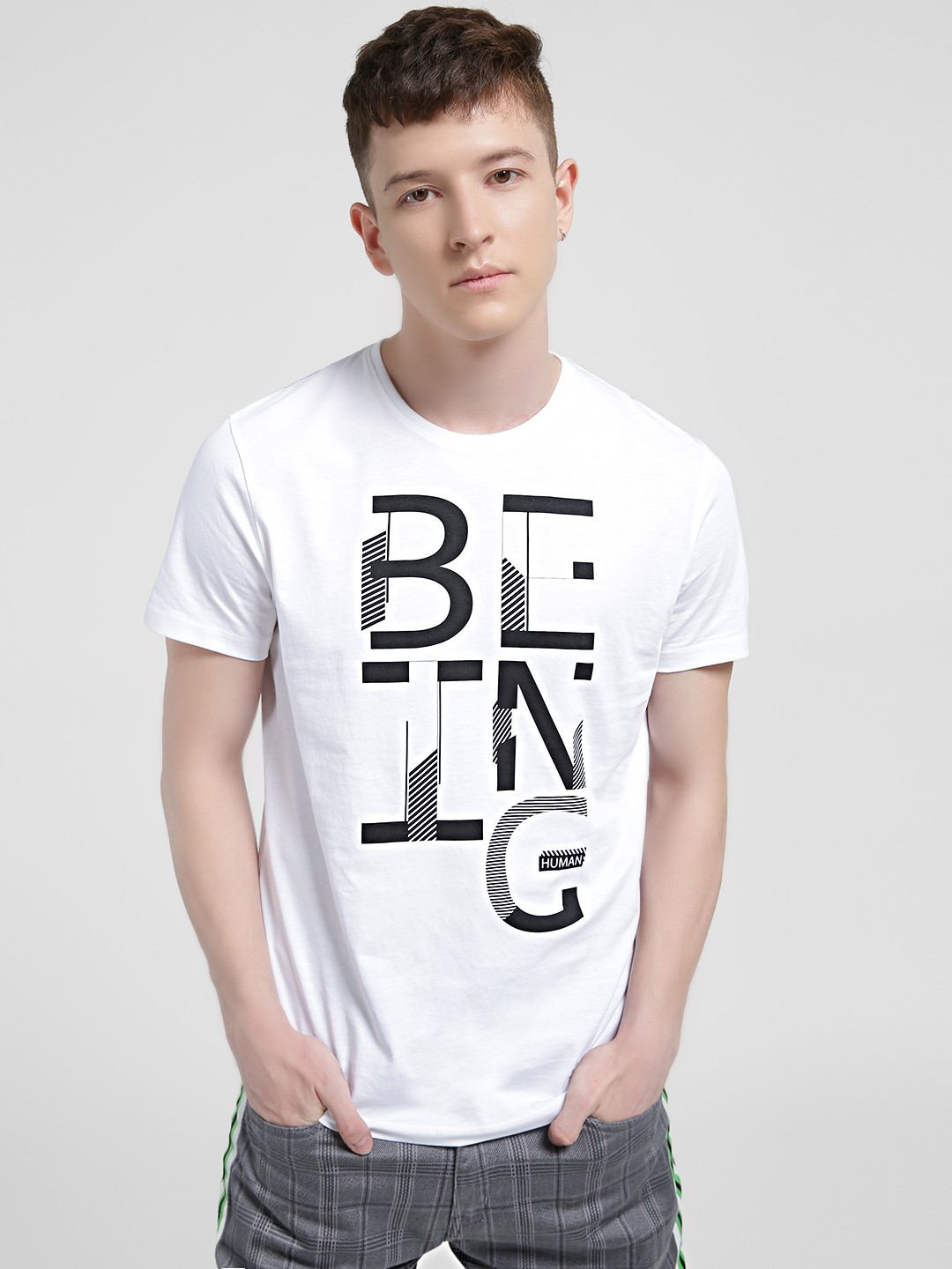 Being Human White Placement Print T-Shirt 1