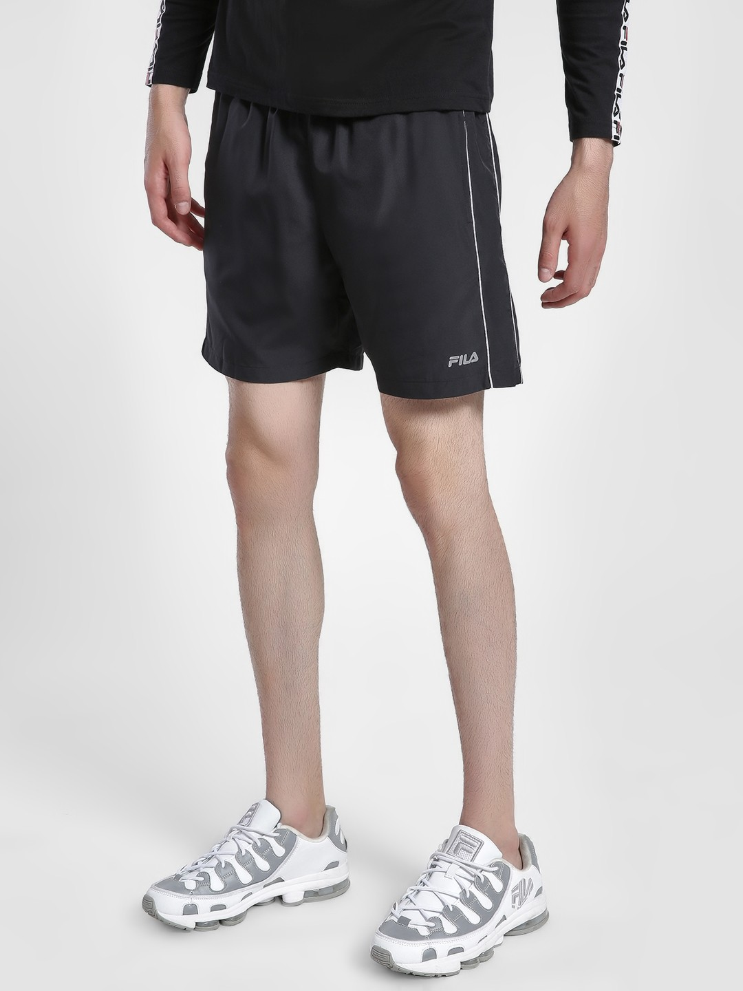 Fila Black Side Piping Detail Shorts 1