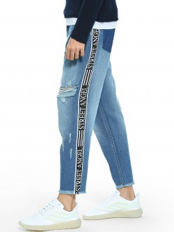 K Denim KOOVS Text Side Tape Straight Jeans