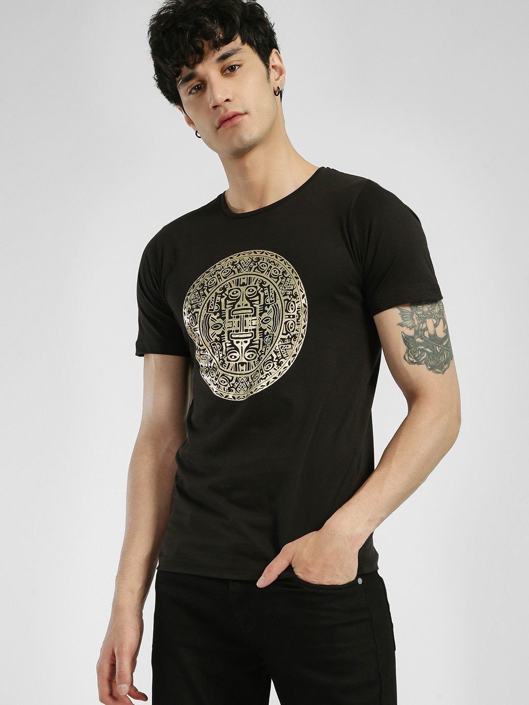 Rigo Black Foil Placement Print T-Shirt 1