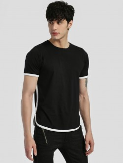 Rigo Contrast Piping Curved Hem T-Shirt