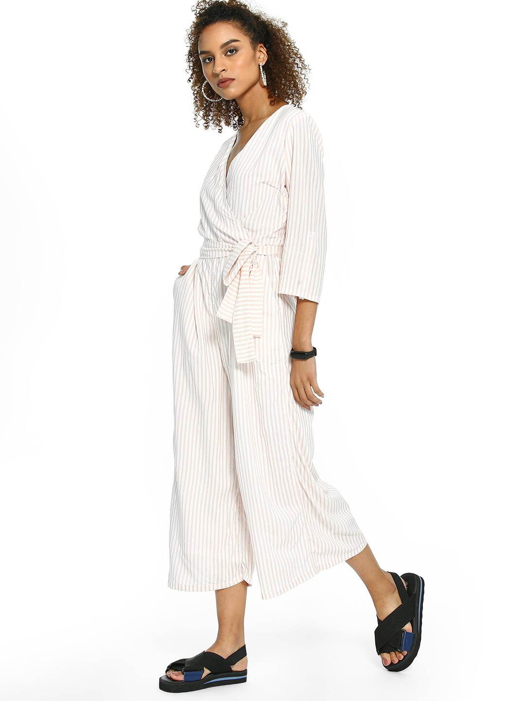 Femella Blush Multi-Stripe Belted Culotte Jumpsuit 1