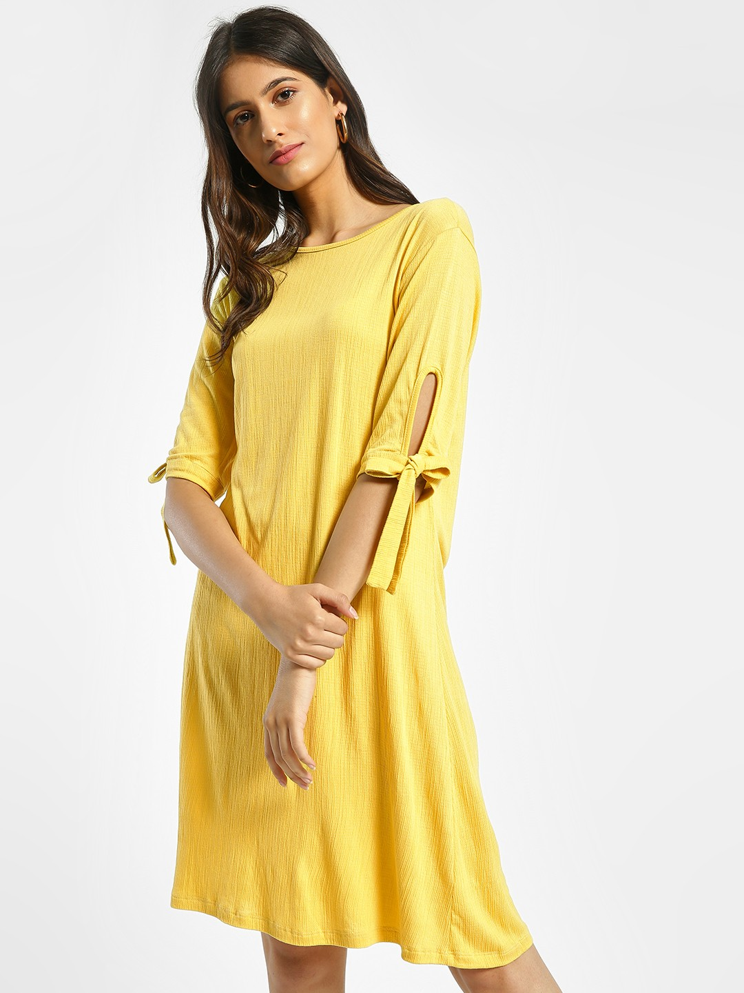 Femella Yellow Tie-Up Sleeve Shift Dress 1