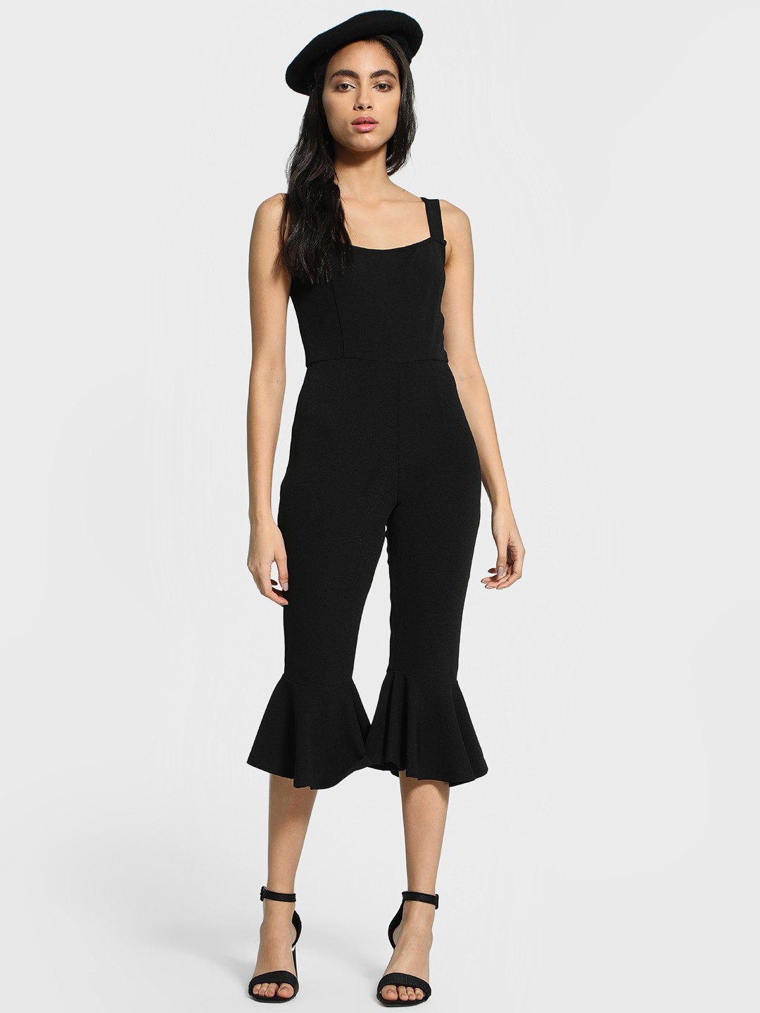 Femella Black Frilled Hem Cropped Jumpsuit 1