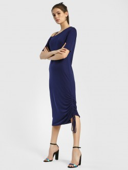 Femella One Shoulder Side Ruched Midi Dress