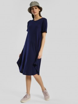 Femella Rollover Sleeve Skater Midi Dress