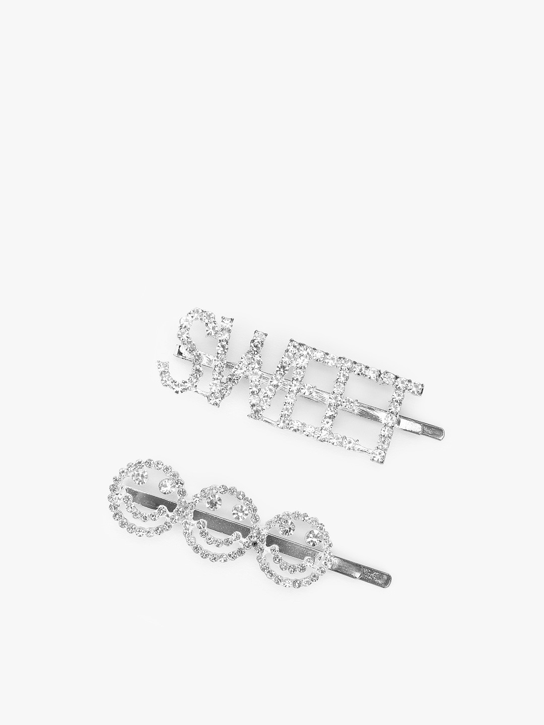 JAWBREAKER Silver Diamante Embellished Hair Clips (Pack Of 2) 1