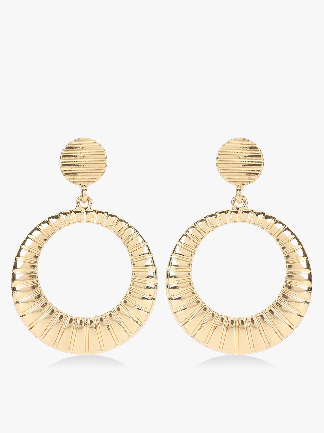 VOODOO VIXEN Gold Gold Textured Concentric Earrings 1