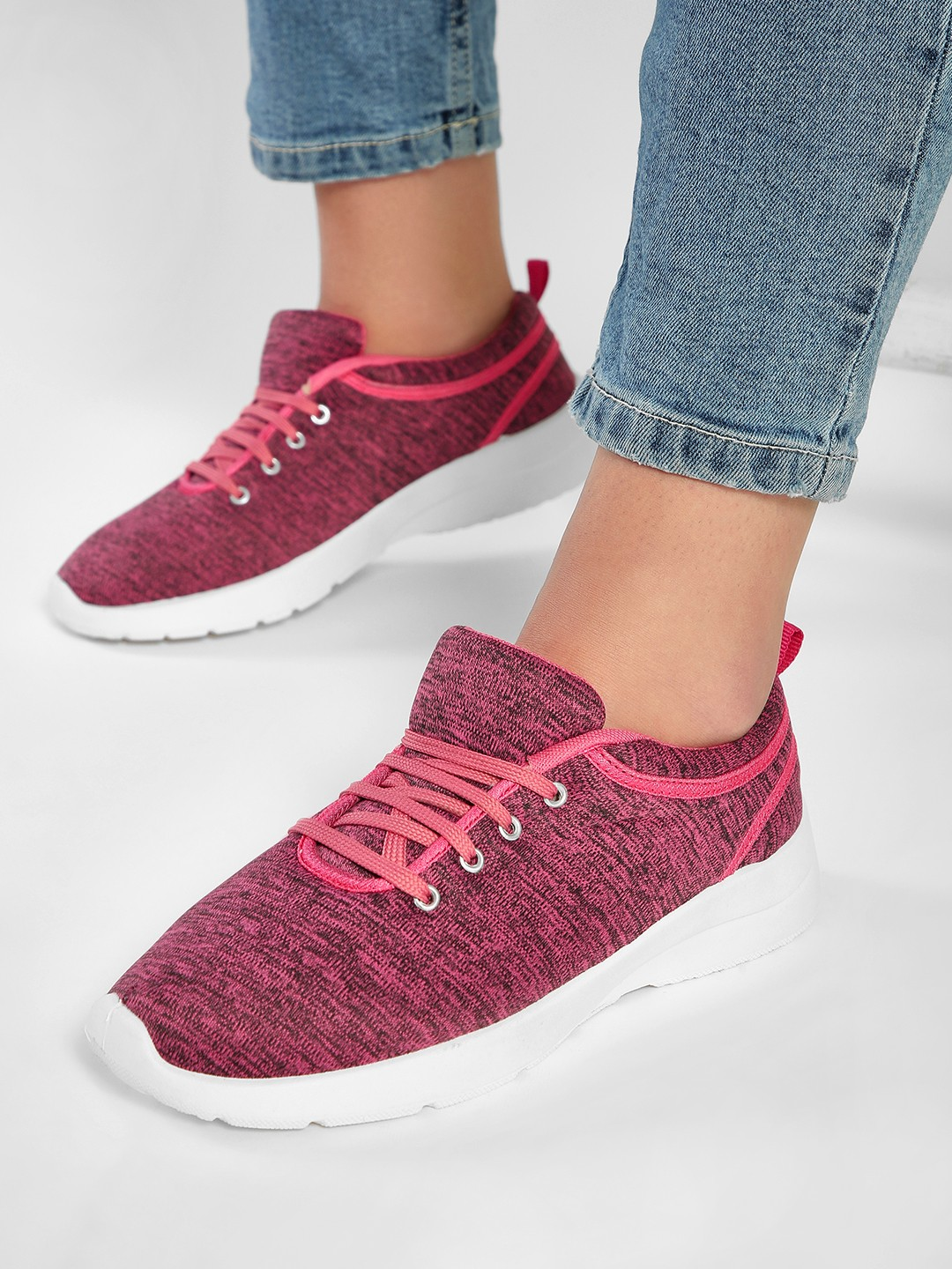 KOOVS Pink Knitted Lace-Up Sneakers 1