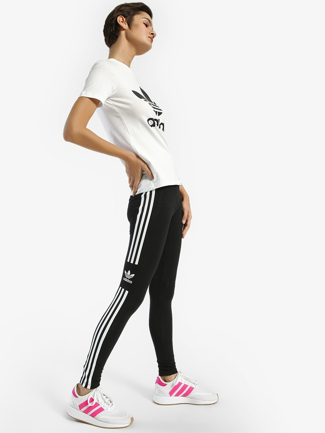 Adidas Originals Black 3-Stripe Trefoil Tights 1