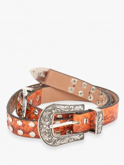 KOOVS Snakeskin Studded Twin Buckle Belt