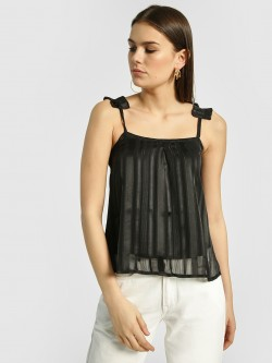 HEY Shimmer Detail Sleeveless Crop Top