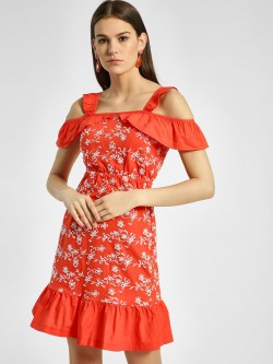 HEY Frill Broderie Cold Shoulder Dress