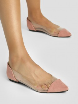 My Foot Couture Clear Suede Toe Ballerinas