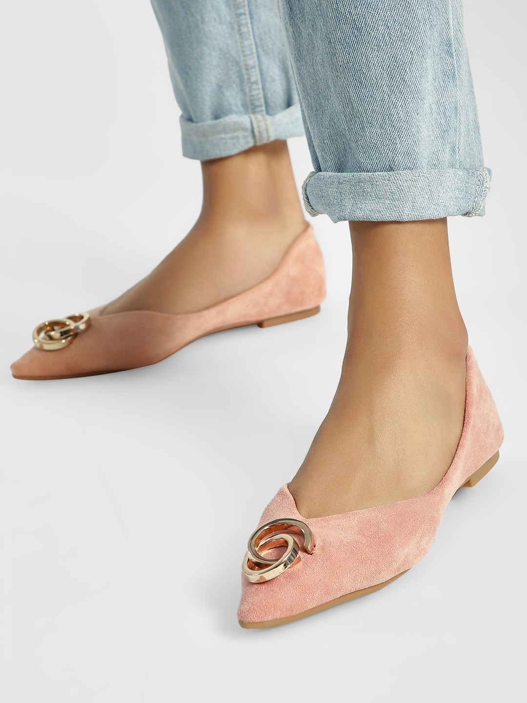 My Foot Couture Pink Hardware Detail Suede Ballerinas 1
