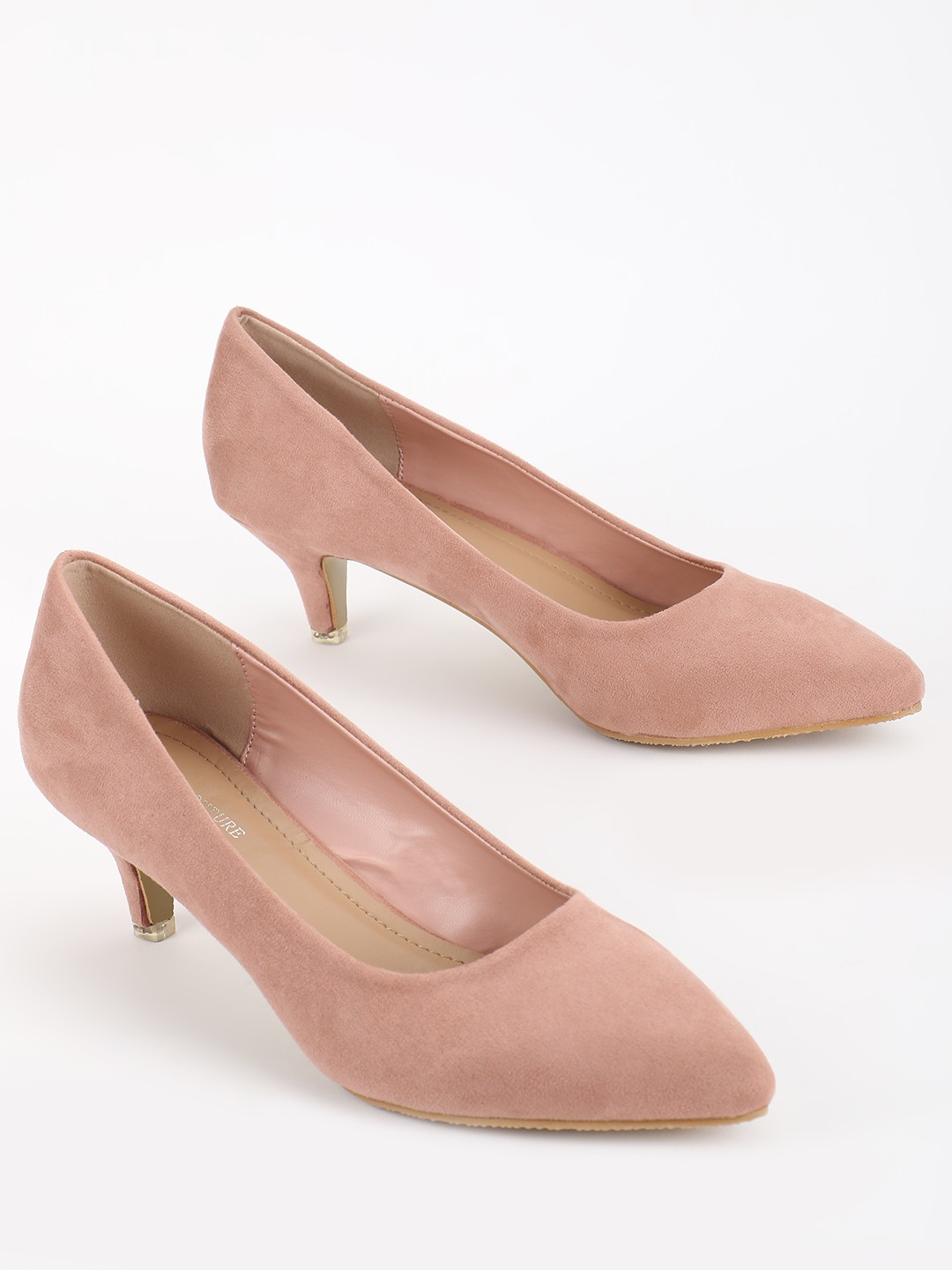 My Foot Couture Pink Suede Kitten Heeled Pumps 1