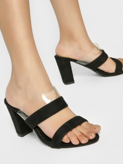 My Foot Couture Suede Strap Block Heel Sandals