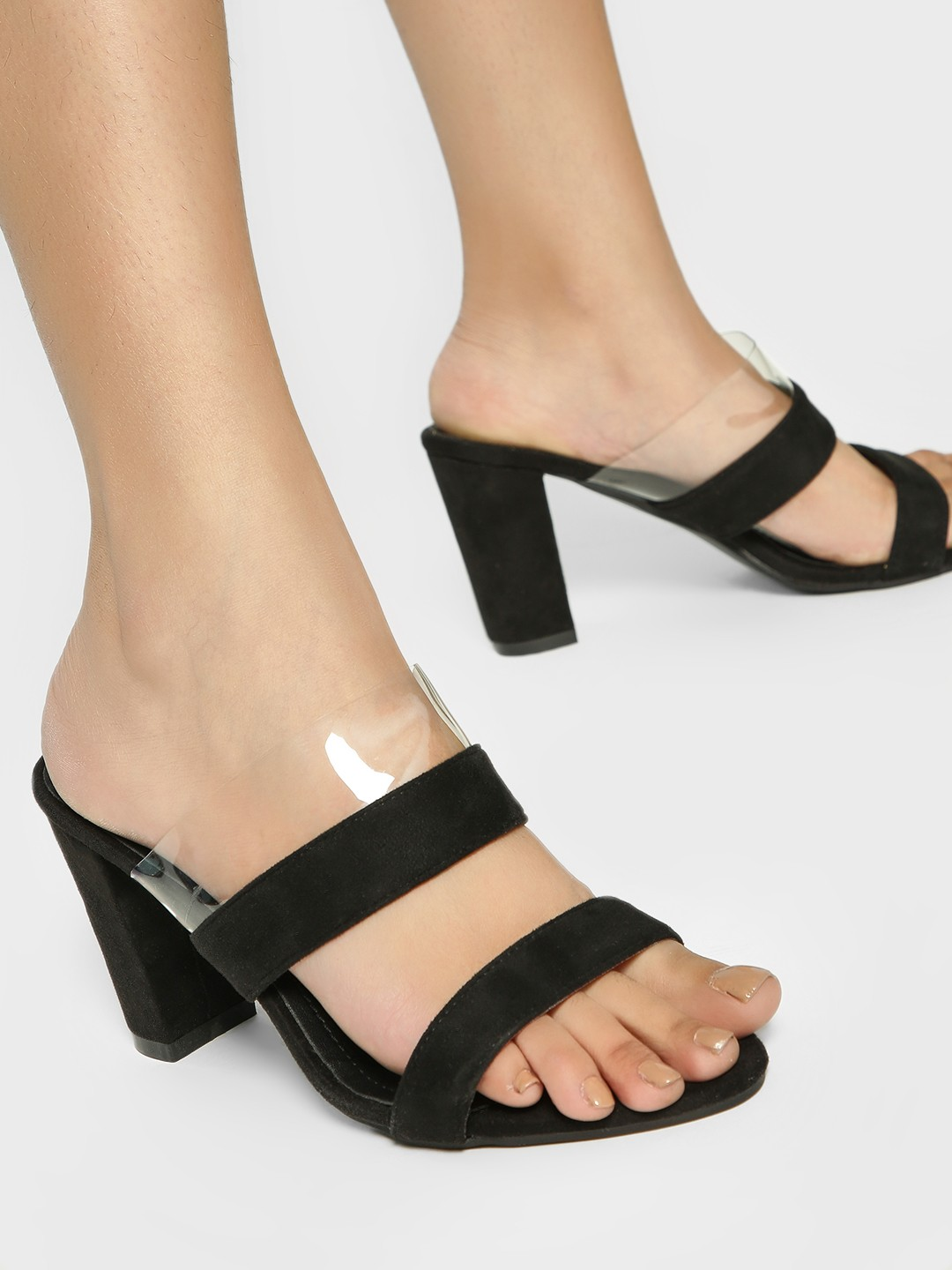 My Foot Couture Black Suede Strap Block Heel Sandals 1