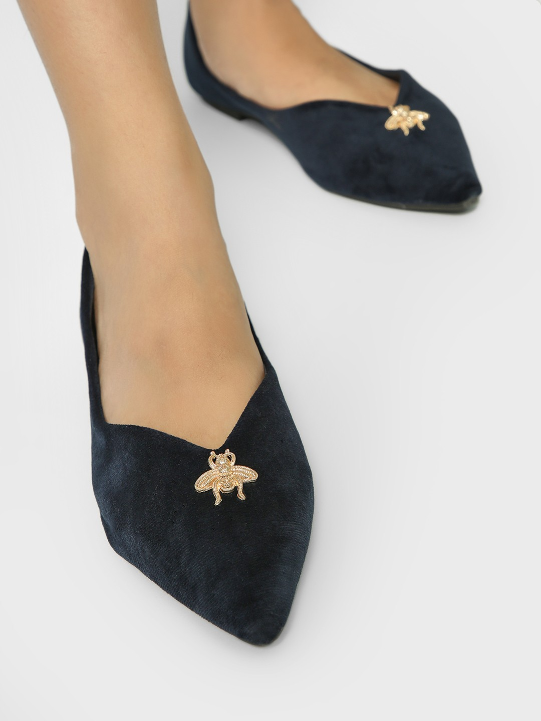 My Foot Couture Blue Brooch Stud Suede Ballerinas 1