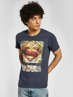 Free Authority Superman Logo Print Knitted T-Shirt