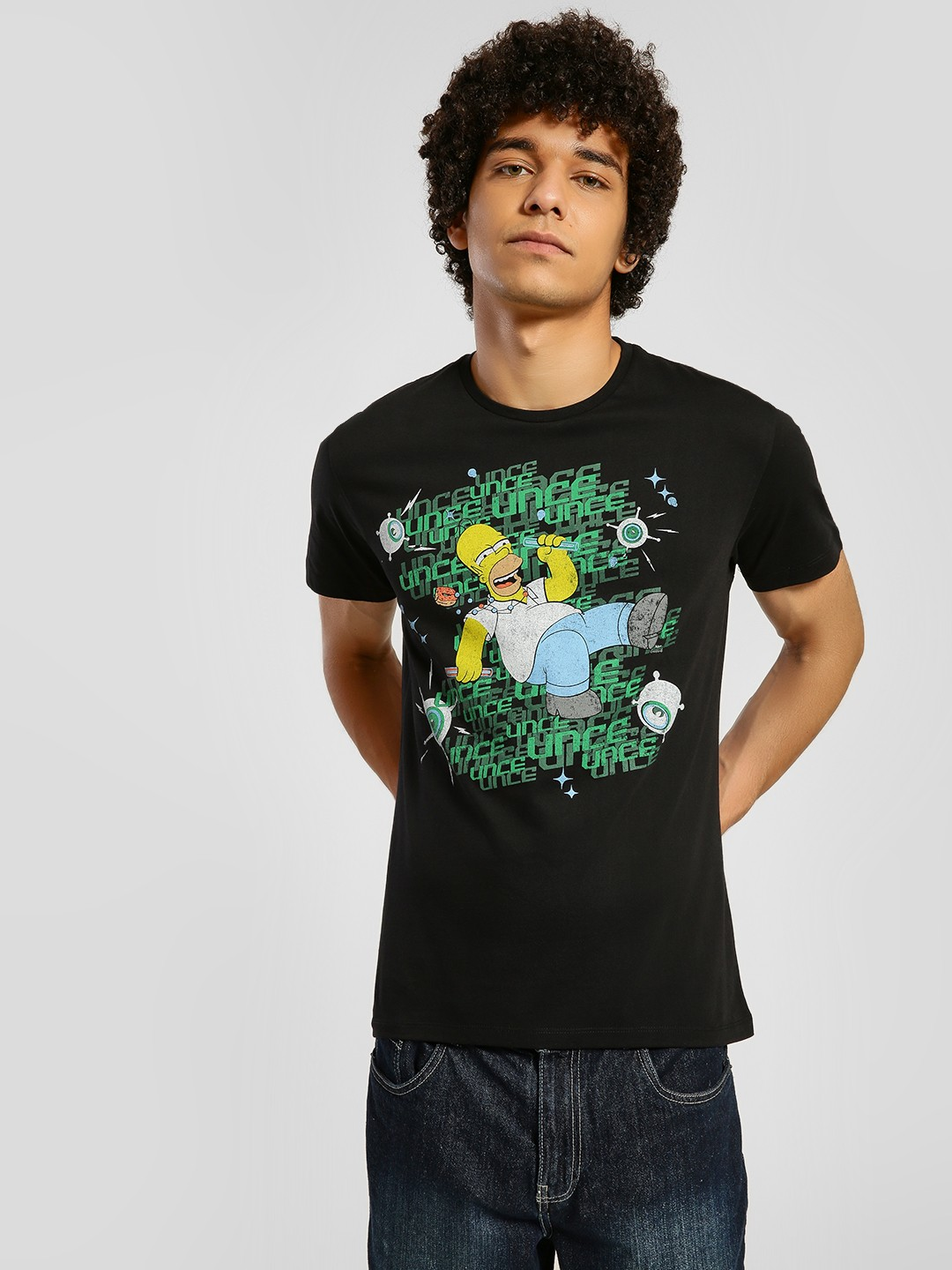 Free Authority Black The Simpsons Placement Print T-Shirt 1