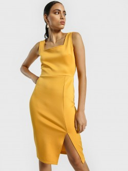 KOOVS Square Neck Midi Bodycon Dress
