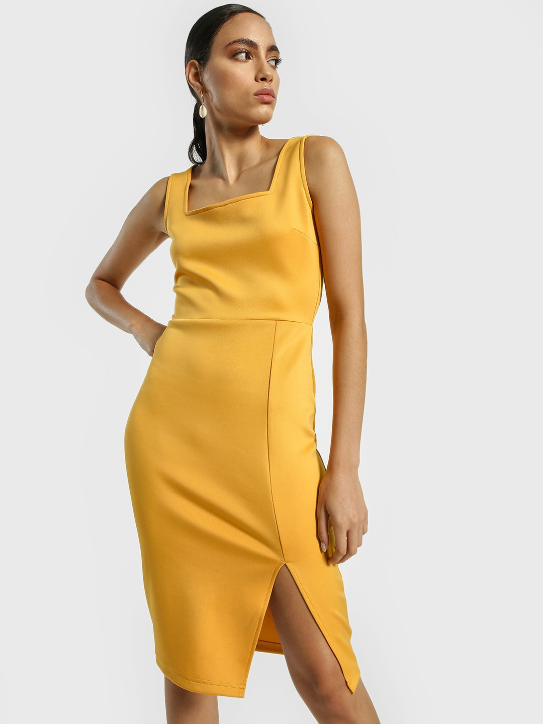 KOOVS Yellow Square Neck Midi Bodycon Dress 1