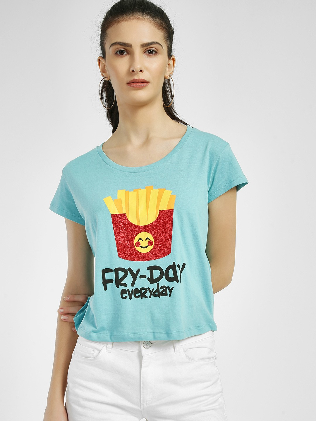 Free Authority Blue Fry-Day Everyday Emoji Print T-Shirt 1