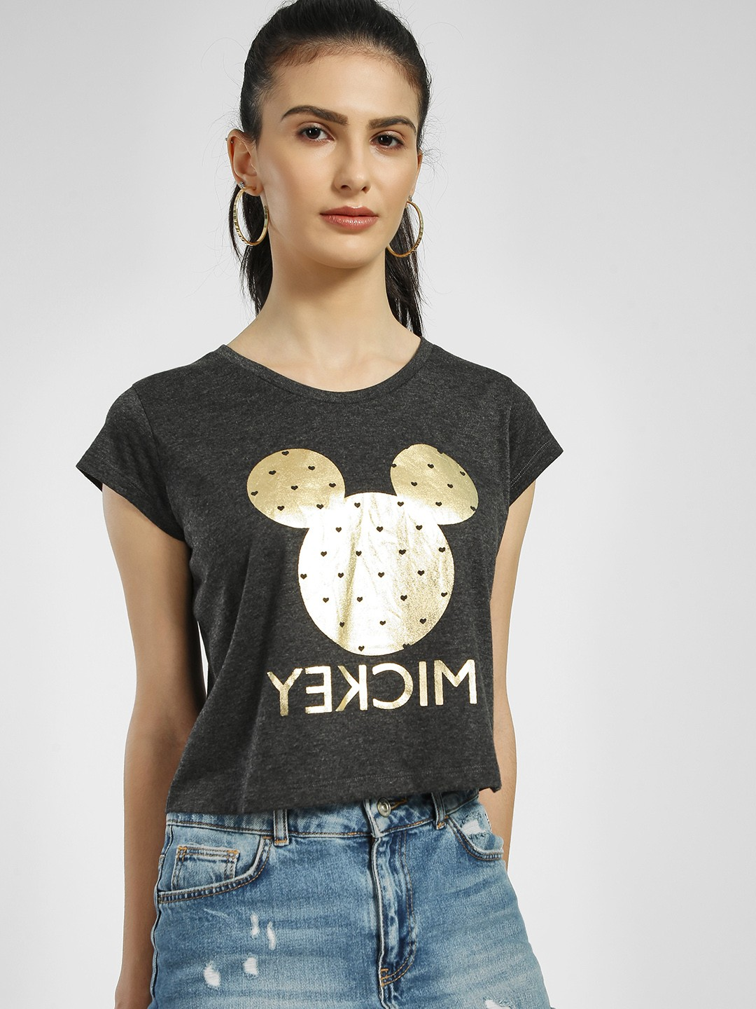 Free Authority Grey Mickey Foil Print Crop T-Shirt 1
