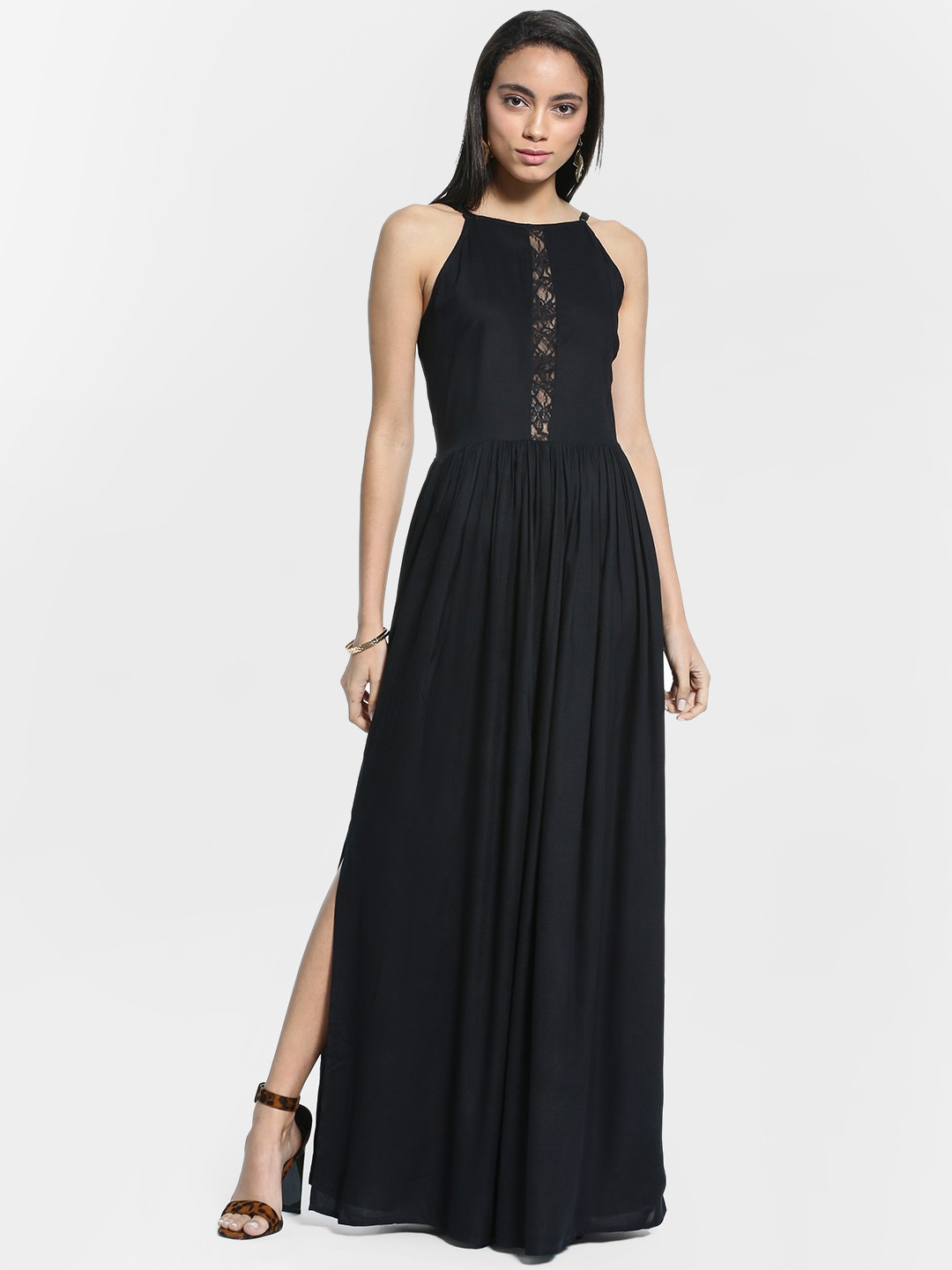 Ri-Dress Black Lace Insert Strappy Maxi Dress 1