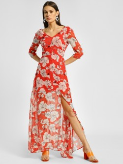 Ri-Dress Floral Print Slit Detail Maxi Dress
