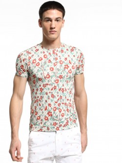 KOOVS Floral Print Muscle Fit T-Shirt